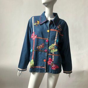 Life Style Tops - Butterfly Embellished Denim Shirt Sz Lg